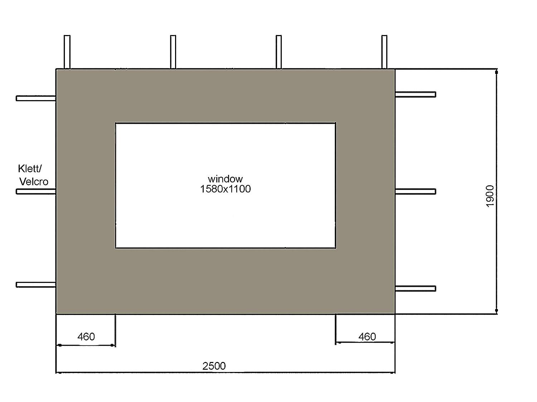 Quick-Star 2 pareti Laterali per Gazebo Nizza 3 x 4 m Parete Laterale Grigio