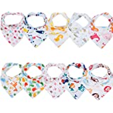 Labebe Baby Bandana Bibs Drool/Burpy Bibs Unisex 10-Pack Multicolor, 100% Cotton, Newborn Baby Shower Gift for Teething and Drooling, Soft & Absorbent, Machine Washable and Stain Proof - Unisex Pack (A)