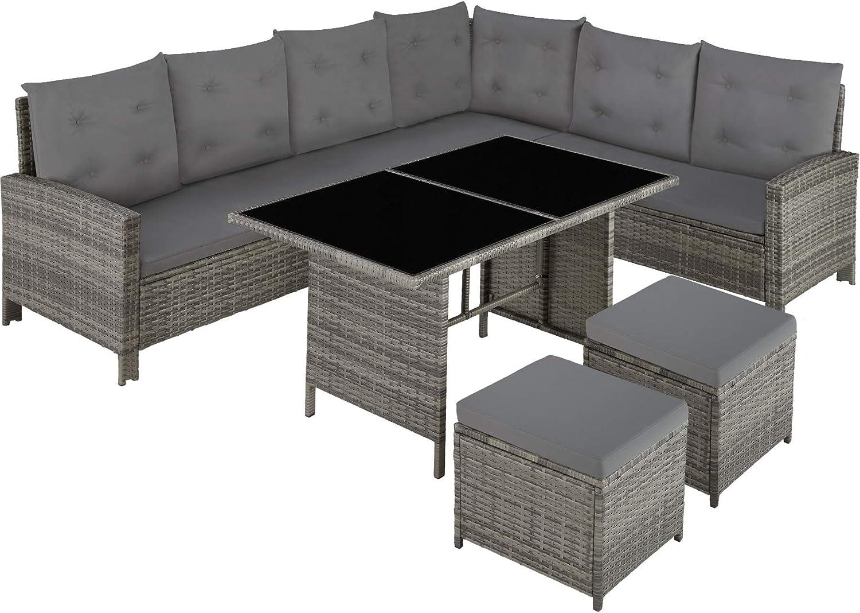 TecTake 800753 Conjunto Muebles de Jardín Ratán para 8 Personas, Sofa de Esquina Exterior para Jardín Terraza Patio con Mesa y Cojines (Gris-Beige | No. 403337)