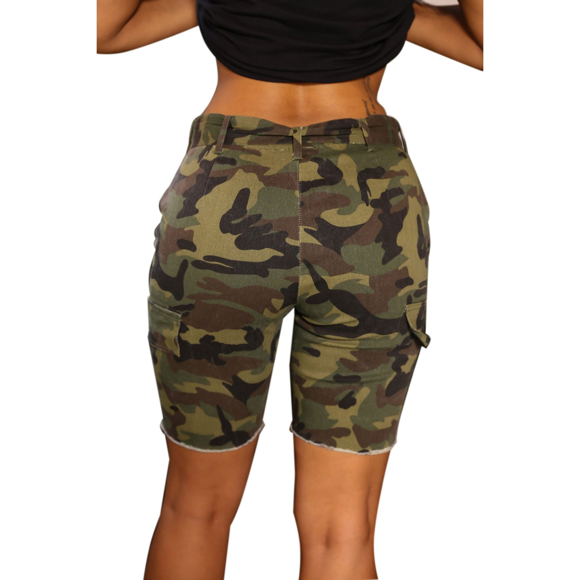 PINLI Camouflage Womens Denim Shorts Sexy Casual Summer Stretch Plus Size high Waisted Beach Jeans Shorts Capri (Camo L) by PINLI (Image #3)