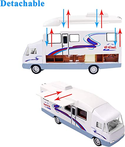 19cm RV Motorhome Trailer Camper Trip Car Model Toys DIY Assemble Kids Toy Gift
