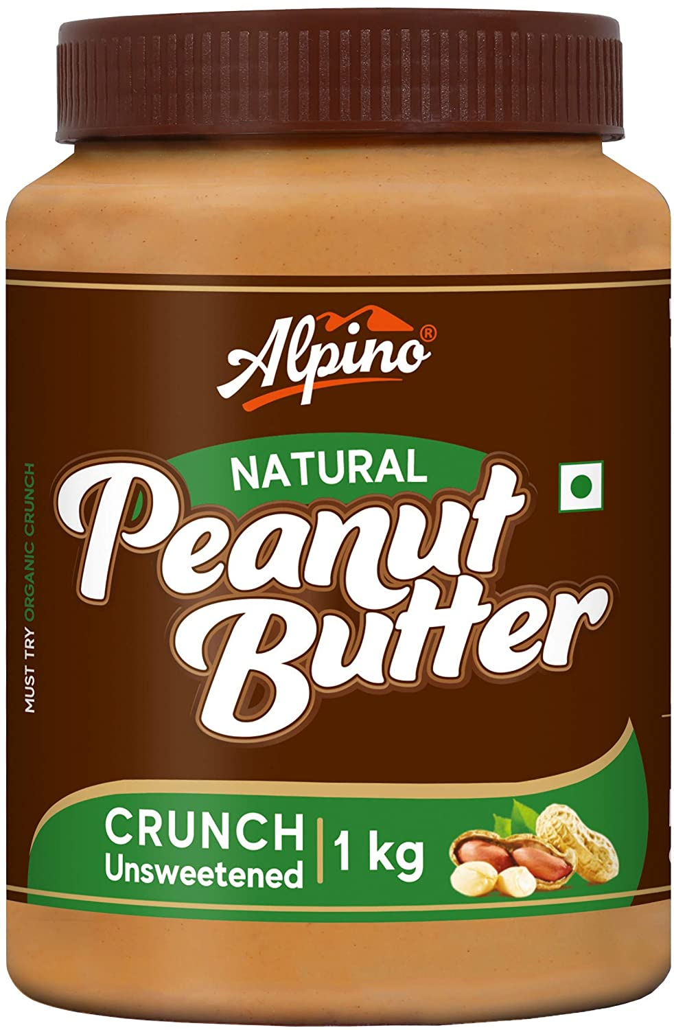 Alpino Natural Peanut Butter Crunch 1 KG / 35 Oz | Unsweetened | Made With 100% Roasted Peanuts | No Added Sugar | No Added Salt | No Hydrogenated Oils | 100% Non-GMO | Gluten-Free | Vegan