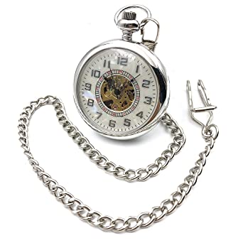 Open Face Silver Tone Skeleton Steampunk Arabic Number Dial Hand Wind Mens Mechanical Pocket Watch W