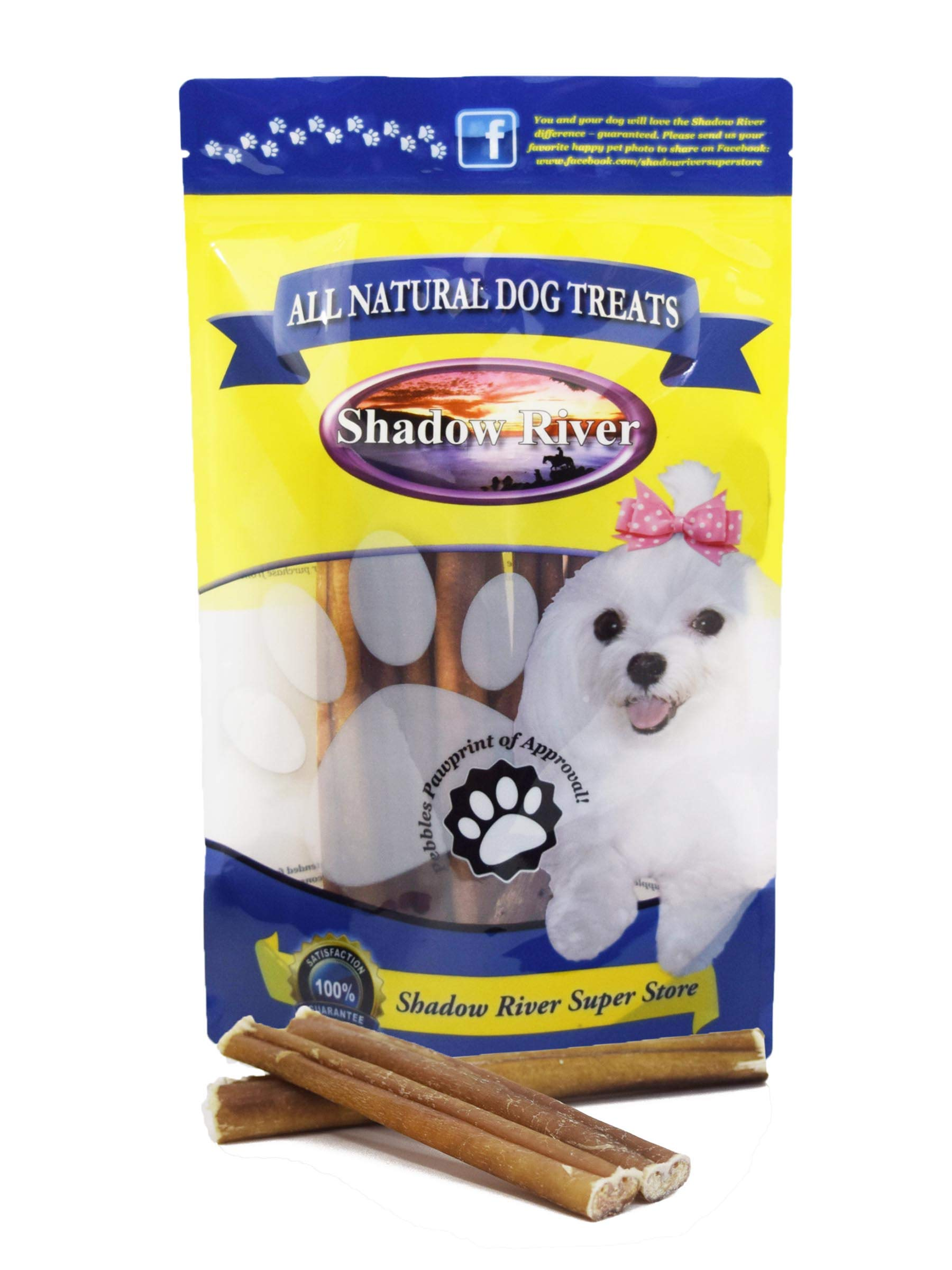 Shadow River 25 Pack 6 Inch Regular All Natural Premium Beef Bully Sticks for Dogs
