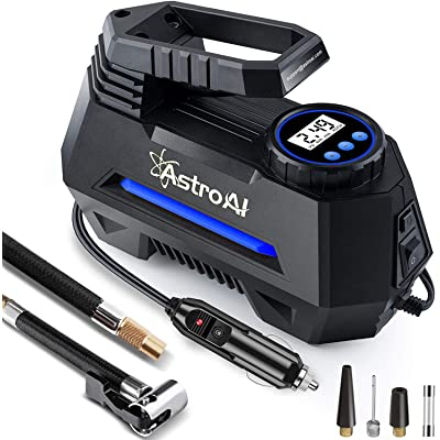 AstroAI Portable Air Compressor Pump, Tire Inflator with Gauge 12V DC Digital Car Air Pump 100PSI with LED Light, Larger Air Flow, Extra Nozzle Adaptors for Car, Bicycle, Motorcycle Ball Air Mattress: Automotive