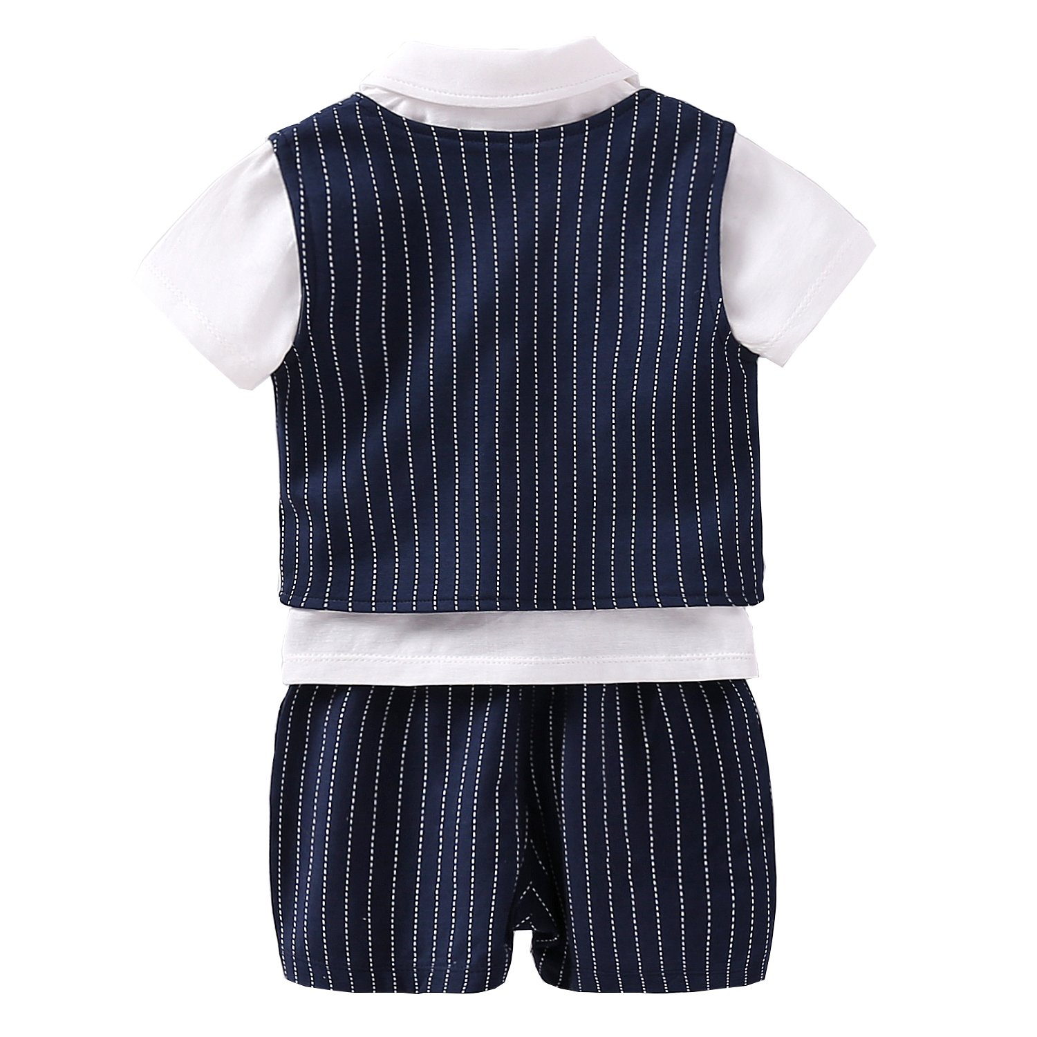 Fairy Baby Baby Boy Formal Outfit Short Sleeve Tuxedo Plaid Gentleman Suit (6-9Months, Navyblue Stripes) by Fairy Baby (Image #2)
