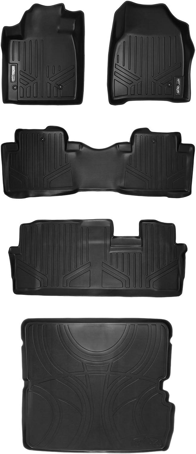 MAXLINER A0036//B0036//C0036 Floor Mats for Honda Pilot 3 Row Set 2009-2015 Black