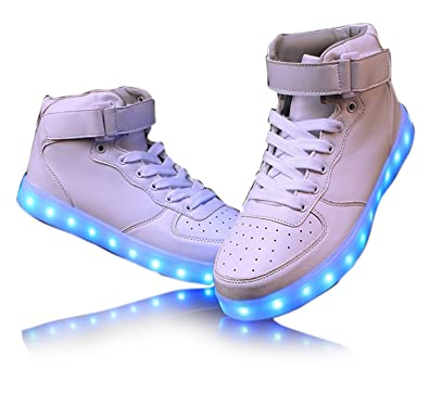 Monika Creations Unisex USB Rechargeable White High Top LED Simulation Shoes  Sneaker - Light Up your ea72c61a929f
