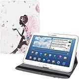 kwmobile HOUSSE EN CUIR SYNTHÉTIQUE 360° premium Design femme pour Samsung Galaxy Tab 3 10.1 multicolore rose foncé blanc avec fonction support pratique signée et Auto Sleep / Wake Up