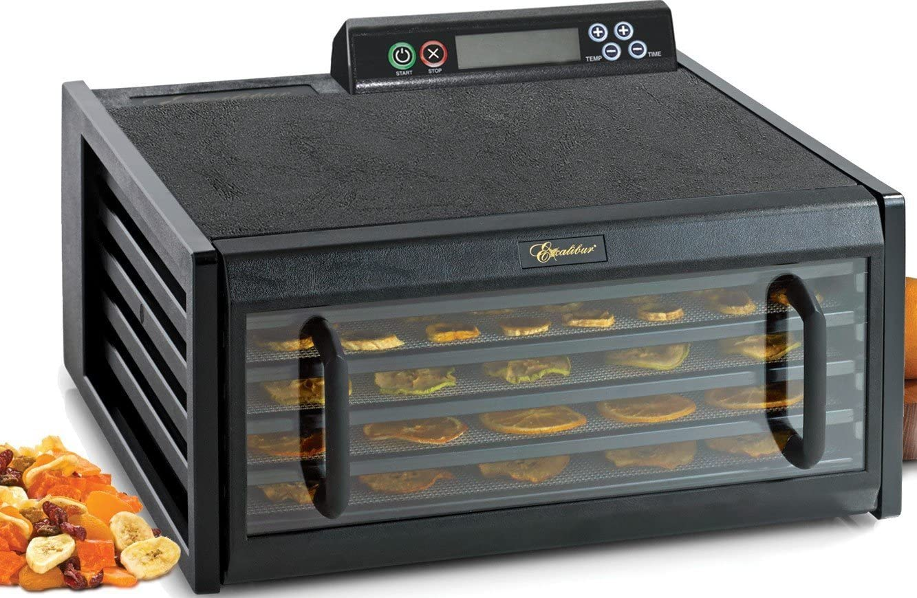 Excalibur 3548CDB Electric Food Dehydrator Features Adjustable Thermostat and Digital 48-Hour Timer Faster and Efficient Drying Made in USA, 5-Tray, Black