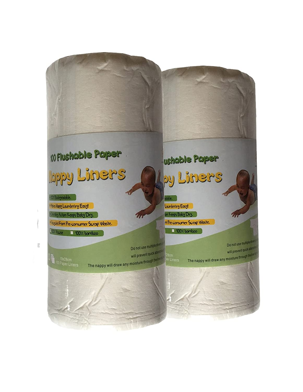 200 Sheets BioLiners Baby Cloth Diaper Nappy Biodegradable Flushable Viscose Liners - Unscented