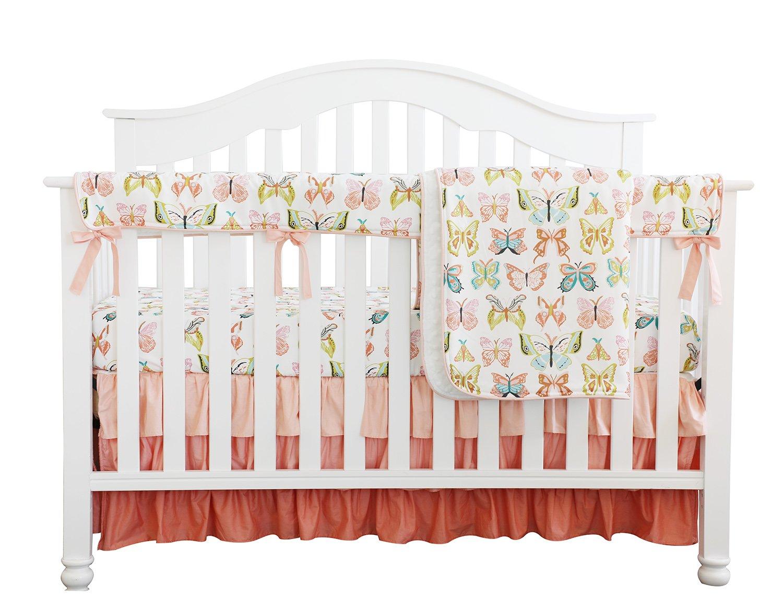 ピーチバタフライ花柄フリルベビーMinky毛布水カラー、コーラルフローラルNursery CribスカートセットベビーガールズCrib Bedding  Peach Butterfly 4pc Set B07DC2Q2X6