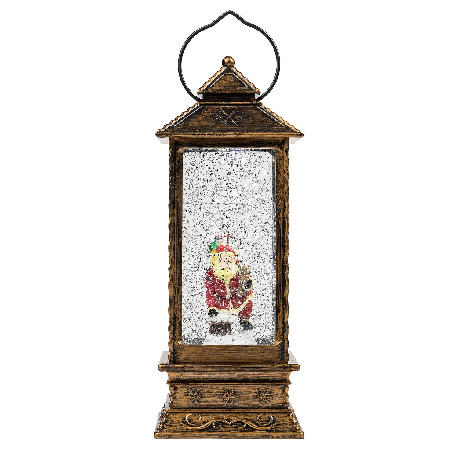 TRIXES LED Decorative Christmas Lantern - Water and Glitter - Indoor Ornament with Santa Scene - Battery Operated XMS147