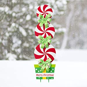 Rocinha Christmas Yard Stakes Metal Candy Christmas Decorations Outdoor Giant Garden Sign Outside Christmas Decorations for Yard Lawn Pathway, 42 Inches