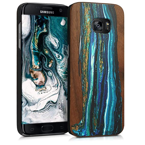 new style dc1eb 61e57 kwmobile Samsung Galaxy S7 Edge Wood Case - Non-Slip Natural Solid Hard  Wooden Protective Cover for Samsung Galaxy S7 Edge