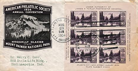 United States Scott 750 3c American Philatelic Society National Parks Souvenir Sheet 1934 Atlantic City