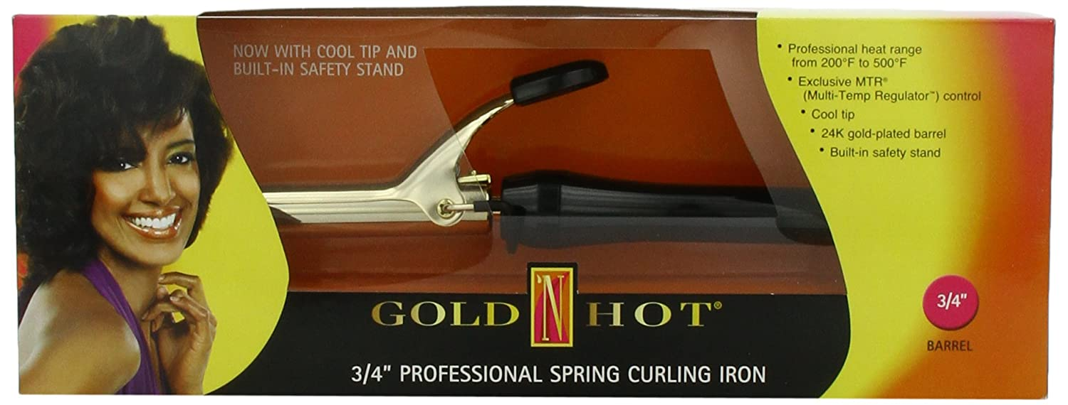Gold 'N Hot Professional Spring-Grip Curling Iron, 3/4 Inch by Gold N Hot B00622KWIK