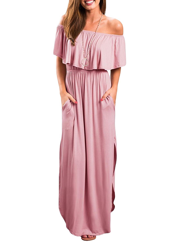 Odosalii Damen Off Shoulder Sommerkleid Boho Kleider Bandeau Langes Kleid Casual Strandkleider Side Split Maxikleid Cocktail Abendkleid