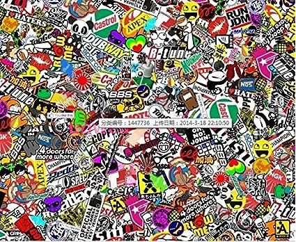 Probrother 60 x 20 jdm panda cartoon graffiti car wrap sheet decal sticker