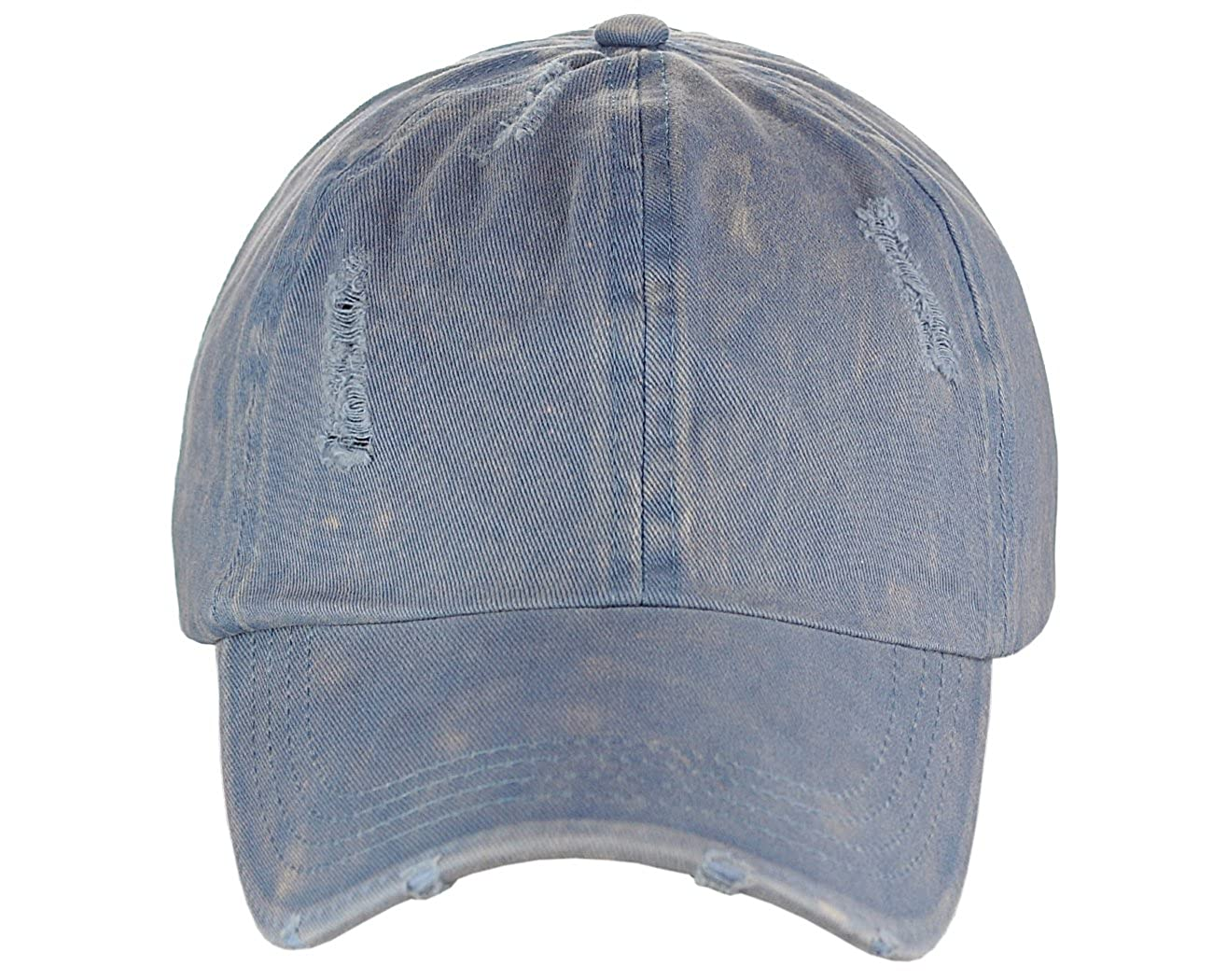 bf9fbbb3 David & Young Ponyflo Ponytail Messy High Bun Distressed Adjustable Cotton Baseball  Cap, Blue: Amazon.co.uk: Clothing