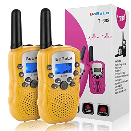 Bobela Best Walkie-Talkie for Family Cruise - T-388 Handsfree Walky-Talkies  with Flashlight for Adults Kids Woki-Toki with PTT Clip FCC Mic Long Range