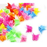 50 Pcs Mixed Color Mini Plastic Beautiful Butterfly Hair Clips Hair Accessories Hair Clip for Women Lady and Girls