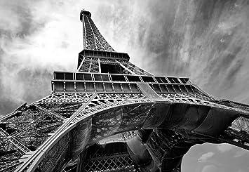 Eiffel Tower Paris Black White Wallpaper Mural