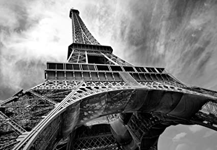 Eiffel Tower Paris Black White Wallpaper Mural Amazon Com