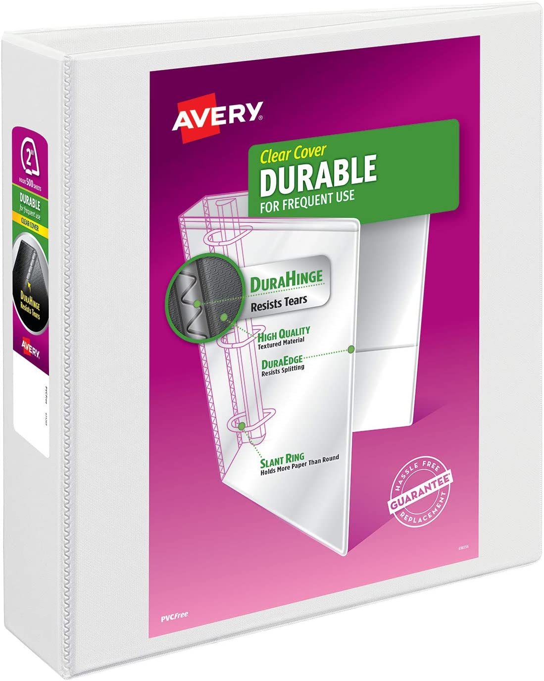 """Avery 2"""" Durable View 3 Ring Binder, EZD Ring, Holds 8.5"""" x 11"""" Paper, 1 White Binder (9501)"""