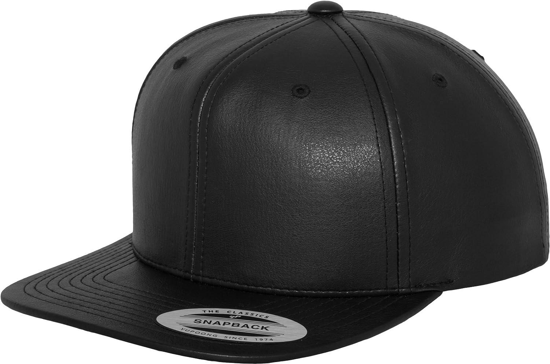 Yupoong Headwear Unisex-Adult Flexfit Full Leather Imitation Snapback Blk One Size
