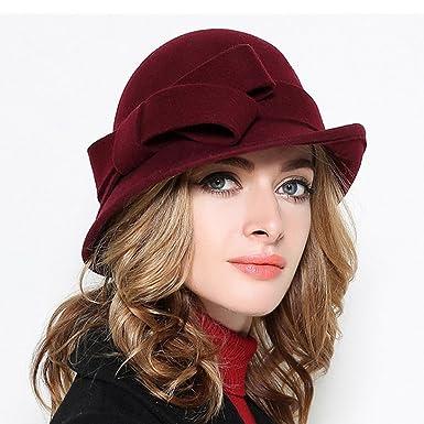 5c898d8de43 Image Unavailable. Image not available for. Colour  Ladies Wool Felt Bowler  Fedora Hat Large Bowknot Wide Brimmed Church Cloche Hats