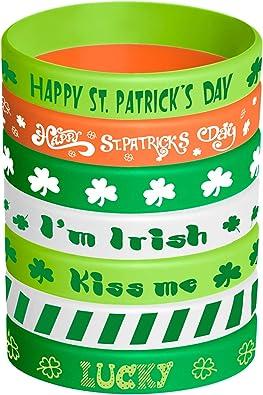 TUPARKA 35 St/ücke St Patricks Day Gummiarmb/änder Shamrock Irish Silikon Armband saint patricks day accesoiries f/ür Kinder Schule Geschenke Liefert