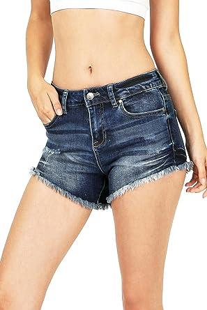 1912a1e6f6 Amazon.com: Celebrity Pink Women's Juniors High Cut Denim Short w Frayed  Edge: Clothing