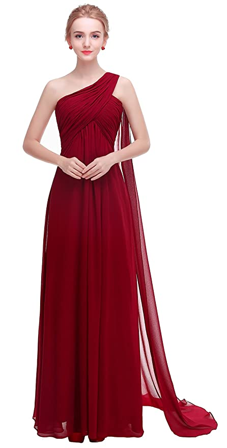 Review esvor One Shoulder Padded Ruffles Long Prom Evening Gown Bridesmaids Dress