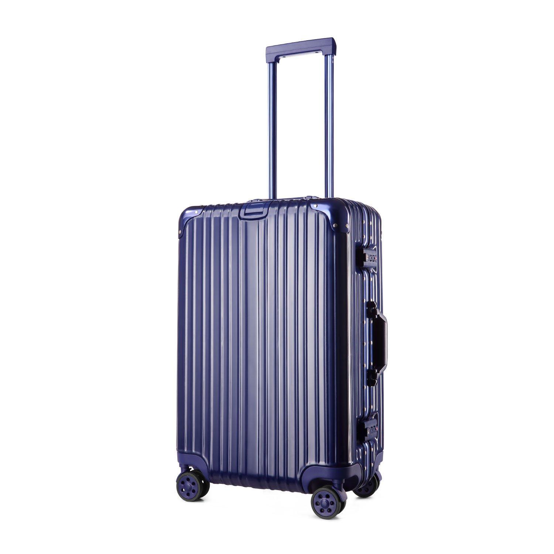 (アスボーグ) ASVOGUE スーツケース キャリーケース TSAロック 鏡面仕上げ アルミフレーム 旅行 軽量 ファスナーレス B0748F5MWM L|ブルー ブルー L