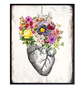 Floral Heart Rustic Wall Art - 8x10 Vintage Shabby Chic Home Decor, Decoration for Living Room, Bedroom, Bathroom, Medical Office, Hospital ER- Gift for Nurse, Doctor, RN, Physicians Assistant, Women