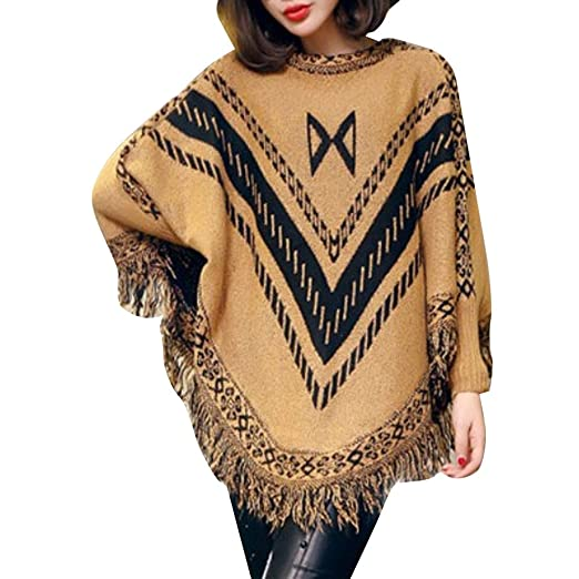 db484233fba5f6 Womens Poncho Sweaters Fringe Batwing Sleeve Vintage Knitted Shawl Cape  Cardigan (Bust=65cm/