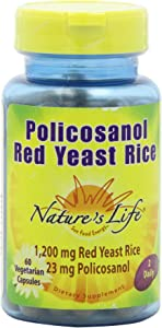 Nature's Life Policosanol and RYR, Veg Capsules, 23 Mg/1200 Mg, 60-Count