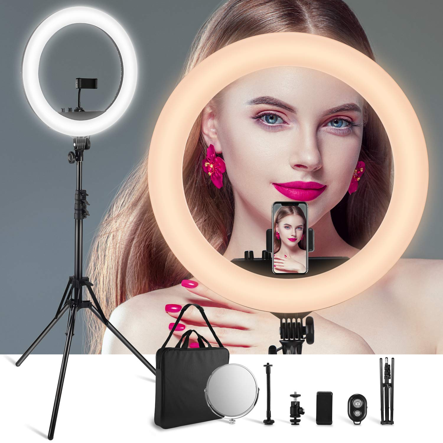 VicTsing LED Ring Light with Color Adjustment Knobs, 18'' Dimmable Ring Light 3200-5600K with 512pcs LED Chips, Make-up Mirror, Tripod, Carrying Bag, etc. for Video Shooting, Portrait, 2019 Upgraded