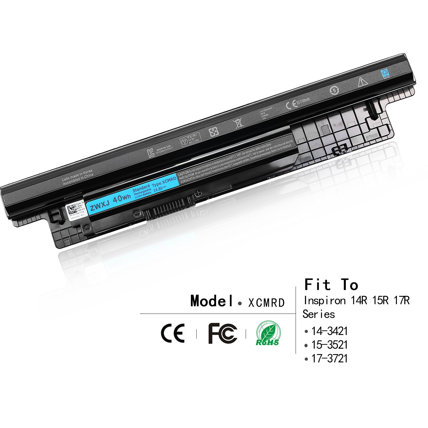 ZWXJ Laptop Battery XCMRD MR90Y (14.8V 40WH 4cell) For Dell Inspiron 14 15 17 N3421 14-3421 15-3521 17-3721 MR90Y 5421 3521 3537 5521 5537 3721 5521 5721 2421 2521 14R 15R 17R Series