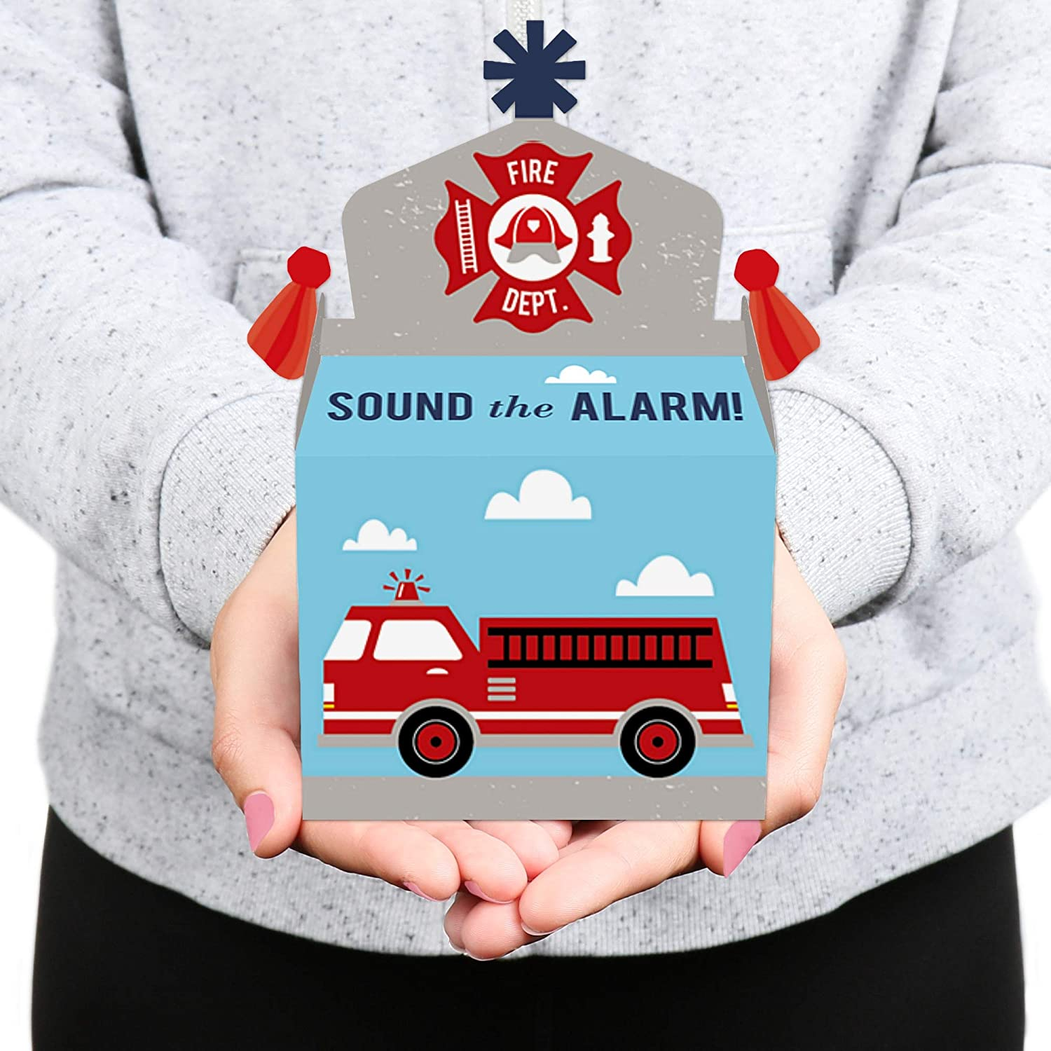 Firefighter Firetruck Baby Shower or Birthday Party Goodie Gable Boxes Big Dot of Happiness Fired Up Fire Truck Treat Box Party Favors Set of 12