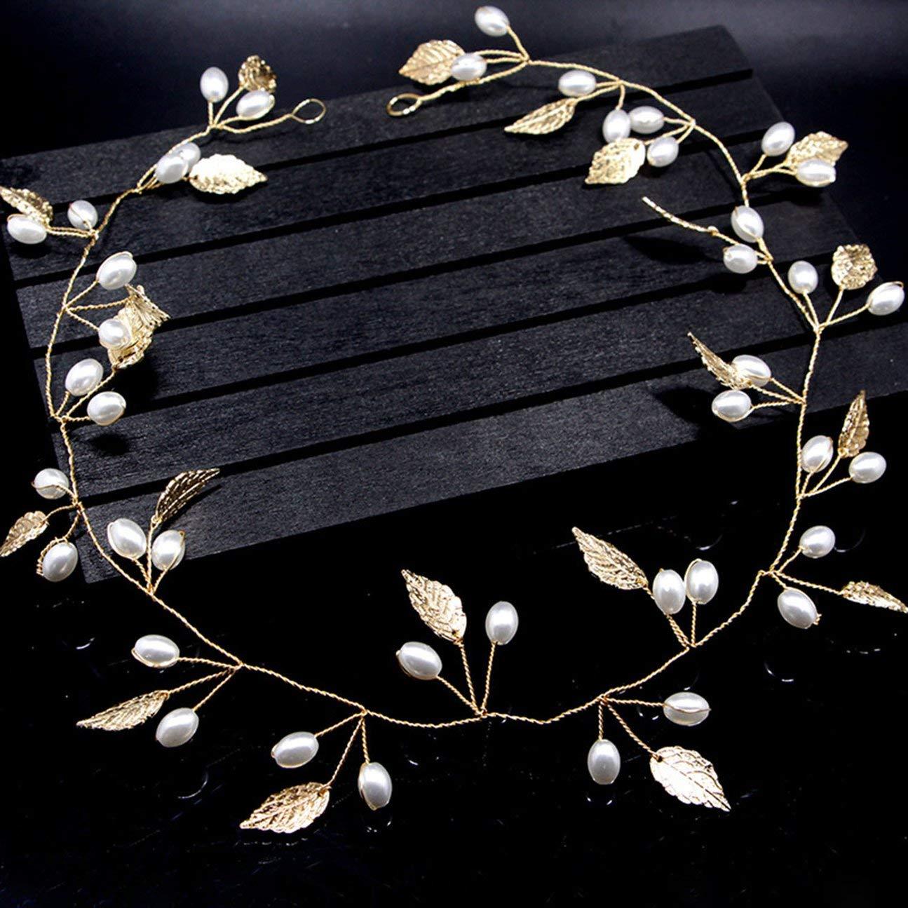 vin de cuivre dor/é /Él/égant belle coiffe en or /à la main laisse perle bande de cheveux forme bandeau guirlande chapellerie bijoux de mariage