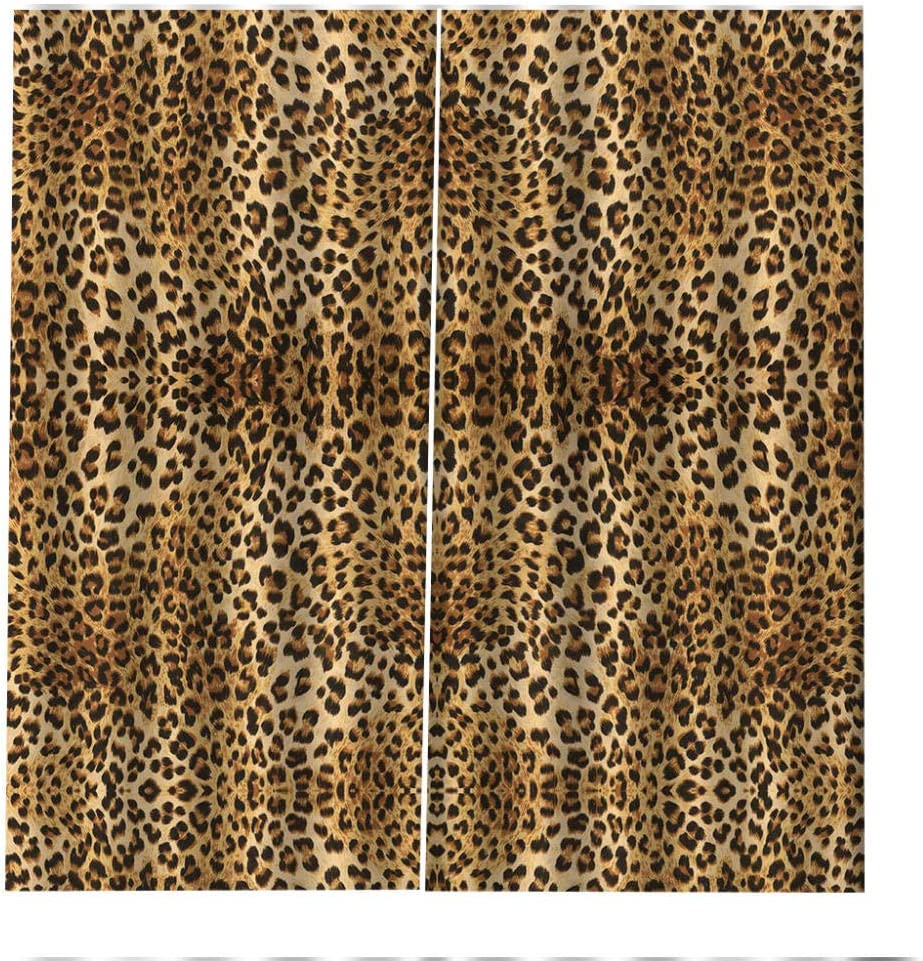 SMXFFF 3D Eyelet Blackout Curtains Leopard Print Living Room Office Bedroom Rose 2 Panels In Total Suitable For Bedroom Living Room Dining Room Nursery Etc.150X166Cm Width X Height