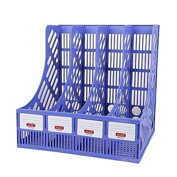 Revistero organizador de escritorio con 4 estantes apilables para archivadores de escritorio, estantes de almacenamiento, color azul: Amazon.es: Oficina y ...