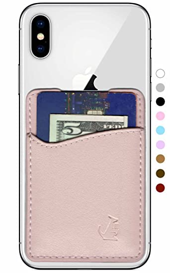 buy online c49a7 818a6 Premium Leather Credit Card Holder Stick On Wallet iPhone Android  Smartphones (Rose Gold Leather) Wallaroo