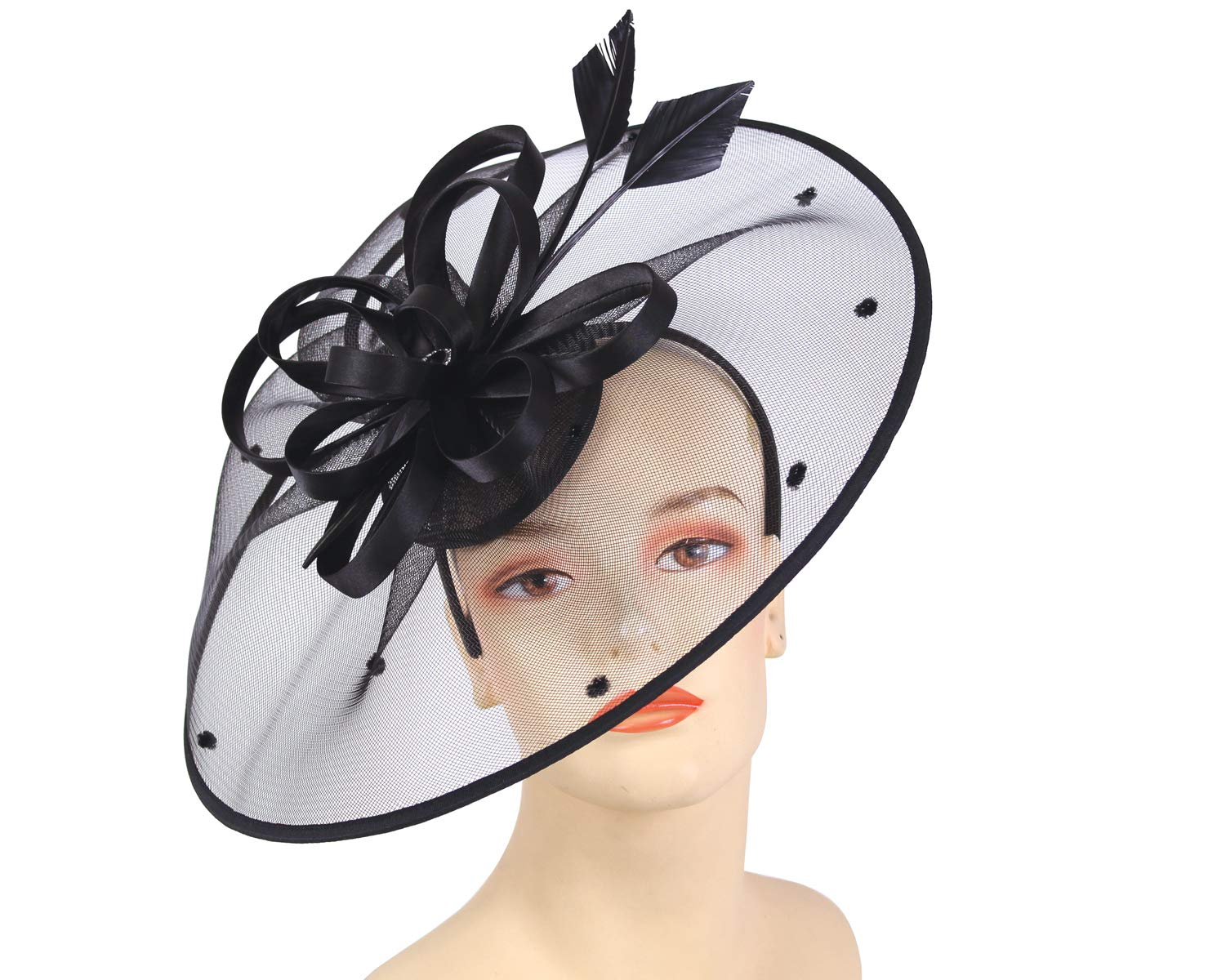 Ms. Divine Collection Women's Fascinator Church Derby Hats - HL95 (Black)