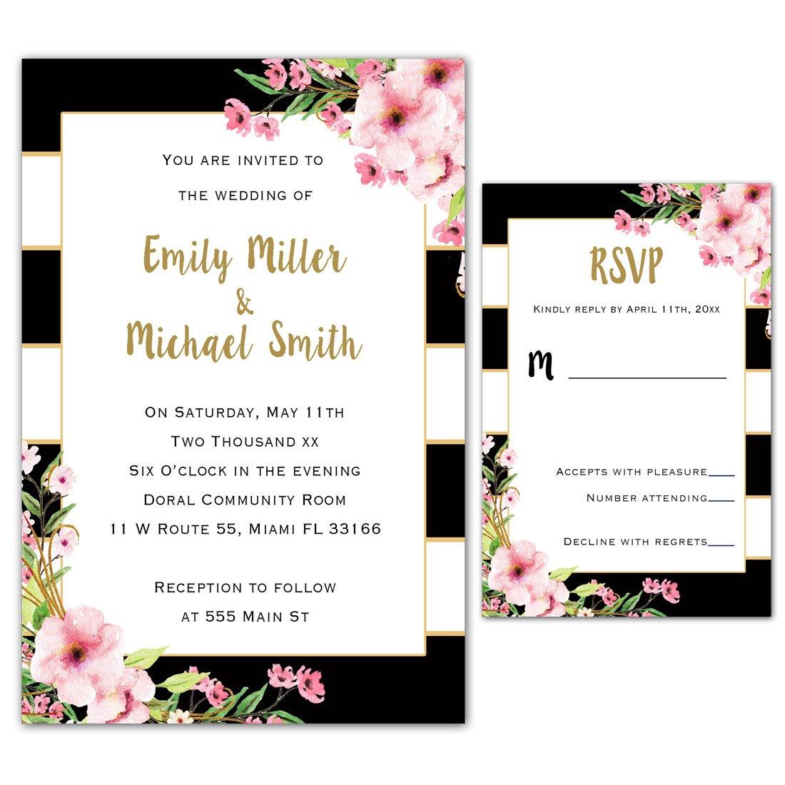 100 Wedding Invitations Gold Black Pink Floral Design + Envelopes + Response Cards Set