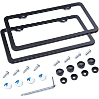 L-Fine Slim Bottom Design Aluminum Alloy License Plate Frame with Screw Set (Black 2 Holes)