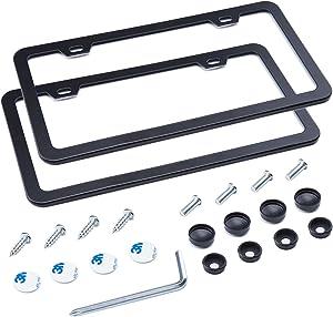 L-Fine License Plate Frame 2 Pcs 2 Holes Aluminum Slim Bottom Design with Screw Set (Black)