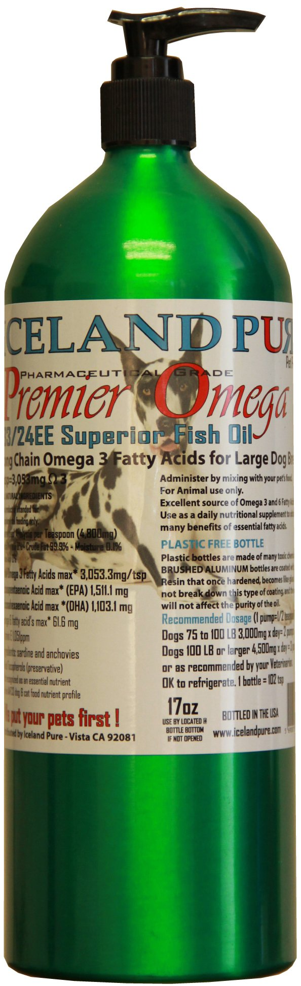 Iceland Pure Premier Omega Fish Oil For Large Breed Dog, 17-Ounce by Iceland Pure